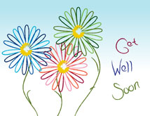 Trendy Daisies Get Well Card